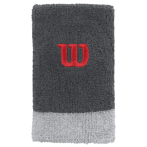 Wilson Extra Wide Wristband 2er Pack dark grey-pearl grey-wilson red