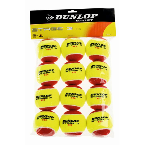 Dunlop Mini Tennis STAGE 3 ROT 12er Pack