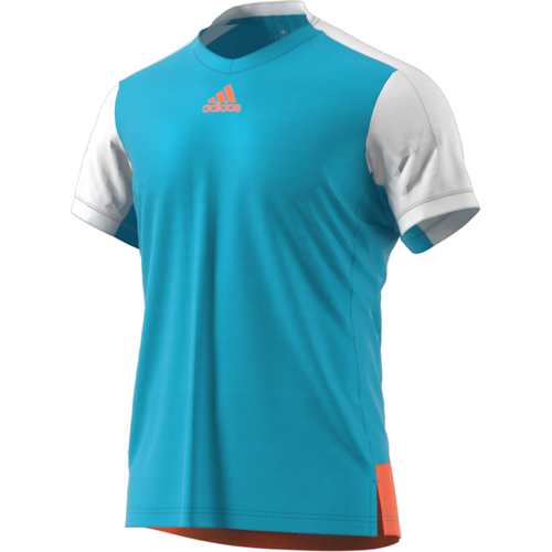 Adidas Melbourne Line Tee Men samba blue-glow orange
