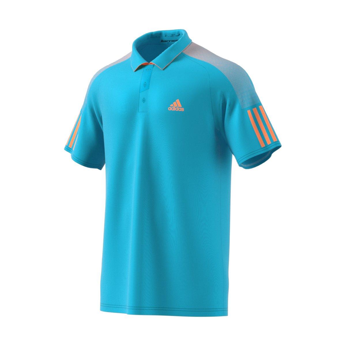 Adidas barricade polo shirt men samba blue glow orange for Adidas barricade polo shirt