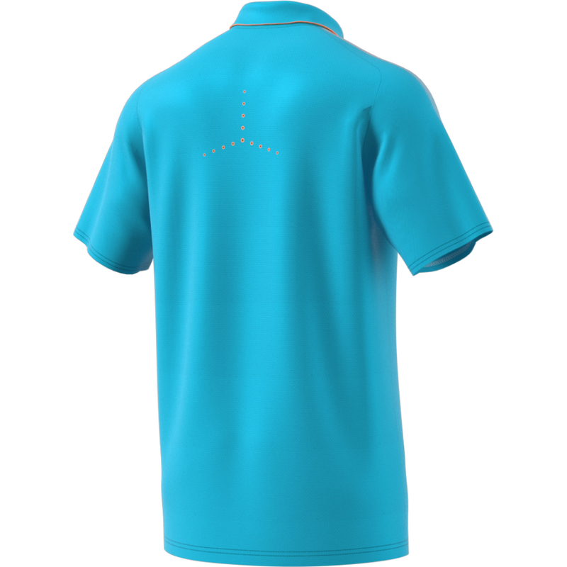 Adidas Barricade Polo Shirt Men Samba Blue Glow Orange